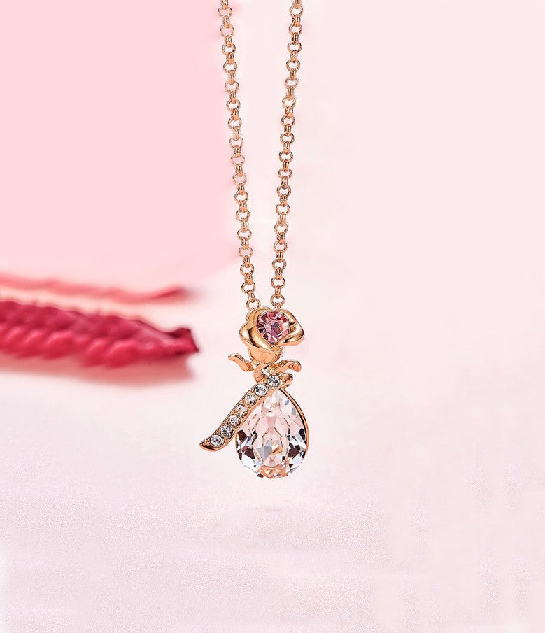 White Swarovski Elements Teardrop Pear Cut Pav'e Floral Necklace in 14K Rose Gold