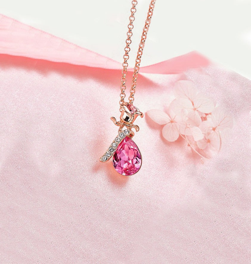 Pink Swarovski Elements Teardrop Pear Cut Pav'e Floral Necklace in 14K Rose Gold