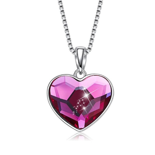 Pink Swarovski Elements Heart Shaped Necklace in 14K White Gold