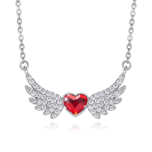 Heart Shaped Angel Wings Austrian Elements Pav'e Necklace