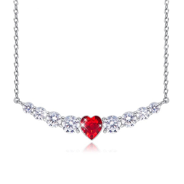 Red Heart Shaped Swarovski Elements Orchid Pav'e Necklace in 14K White Gold
