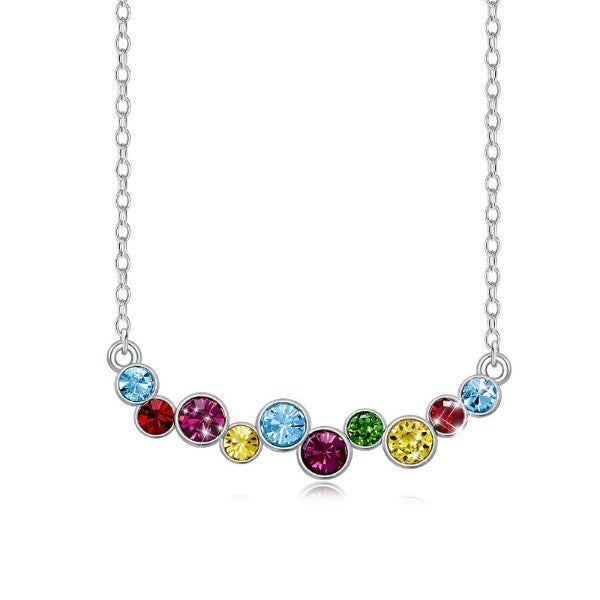 Rainbow Austrian Cluster Multi Statement Necklace in 14K White Gold