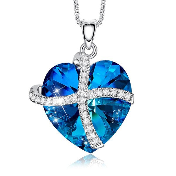 Bermuda Blue Austrian Sleek Heart Pav'e Lining Necklace in 14K White Gold