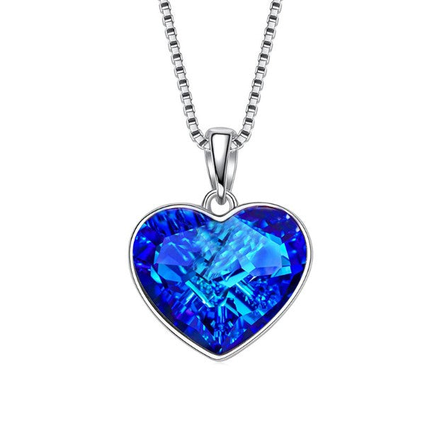 Aruba Blue Austrian Elements Heart Shaped Necklace in 14K White Gold