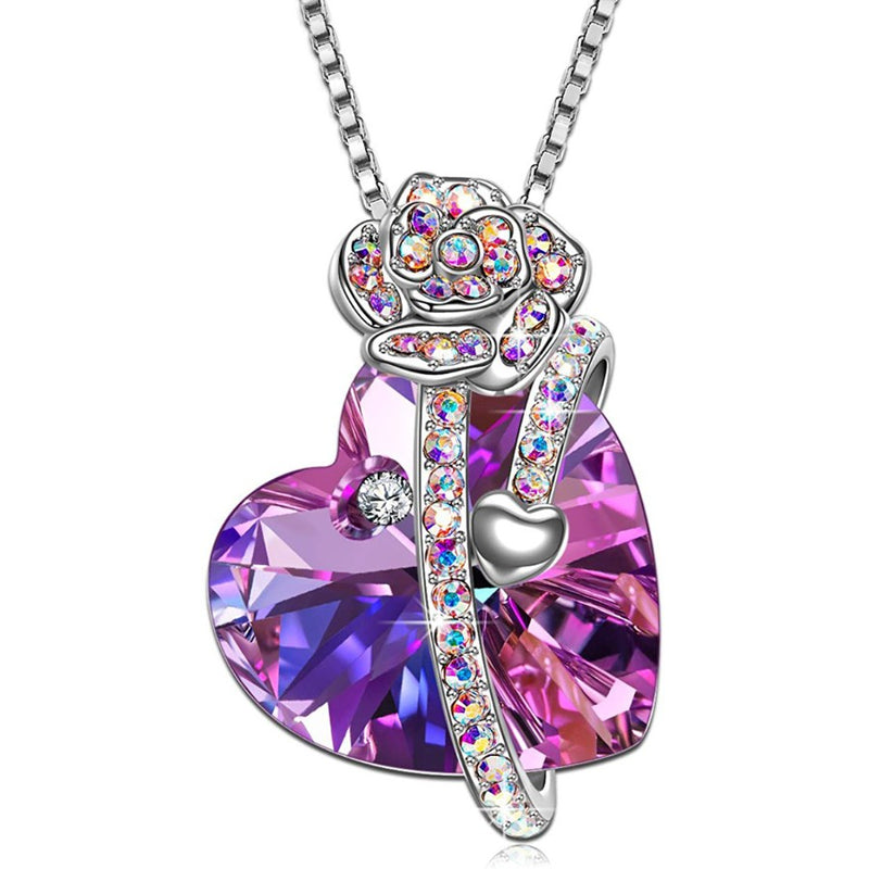 Women 18K White Gold Plated Heart Purple Amethyst Crystal Pendant Necklace
