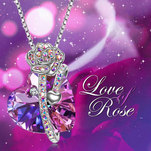 Purple and Pink Austrian Elements Heart Shaped Necklace in 14K White Gold
