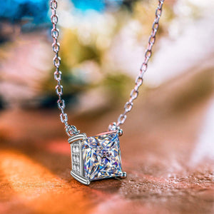 Classic Sqaure Cut Diamond Created Necklace