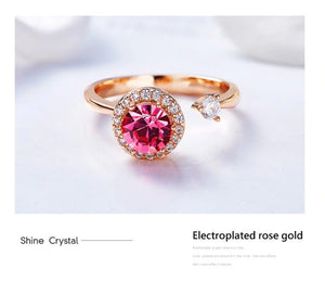 Twisted Pink Swarovski Elements Circular Halo Adjustable Ring