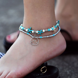 Tuquoise Turtle Bohemian 18K White Gold Plated Ankle