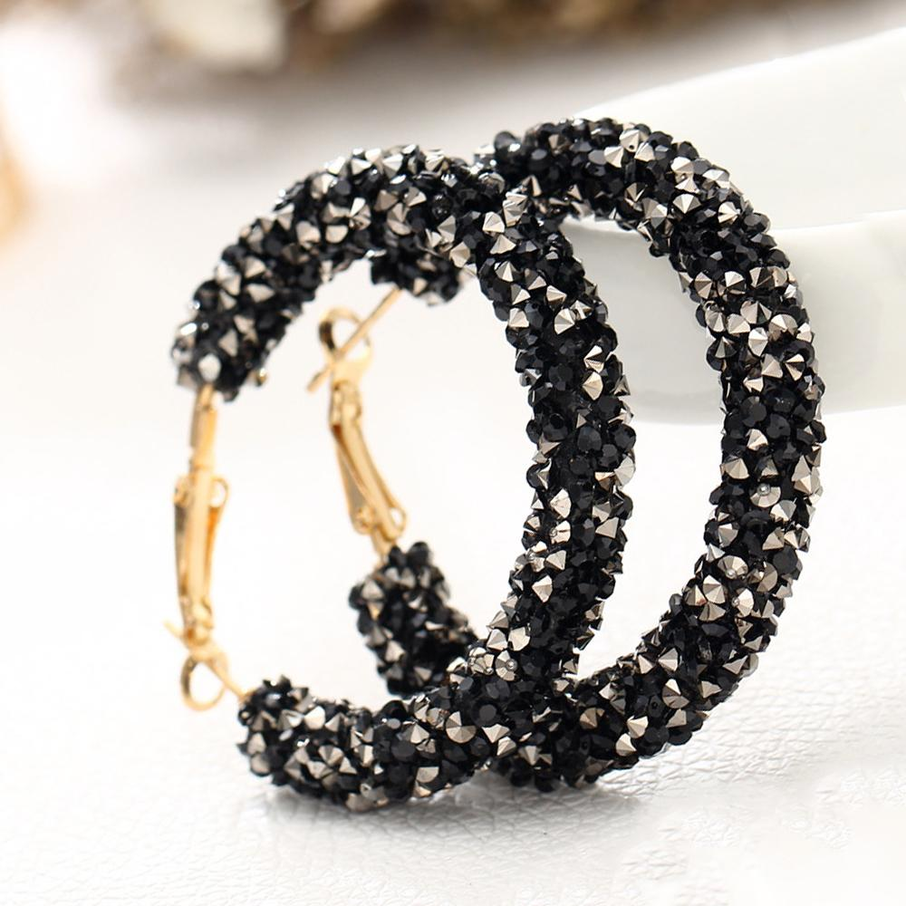 Crystaldust Hoop Earring With Austrian Crystals - Black 18K Gold Plated Earring in 18K Gold Plated