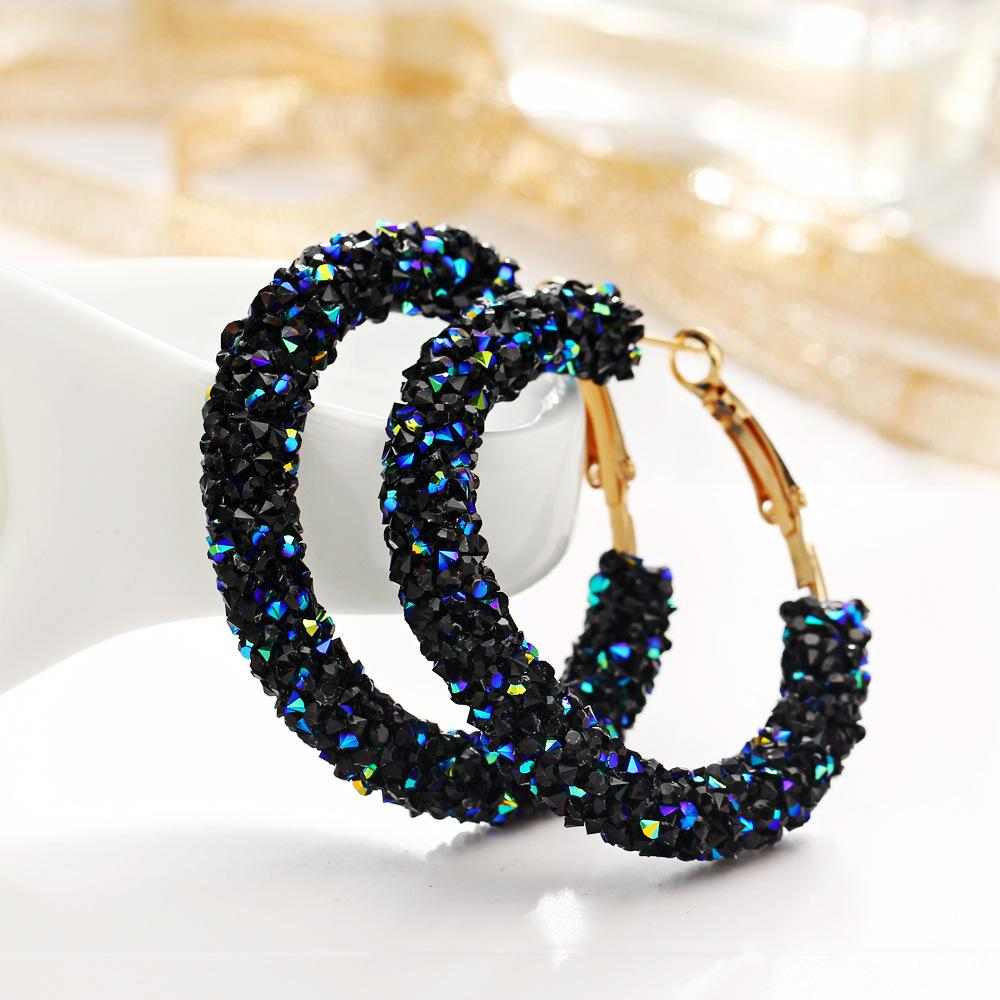Crystaldust Hoop Earring With Austrian Crystals - Blue 18K Gold Plated Earring in 18K Gold Plated