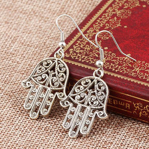 Hamsa Drop Earring 18K White Gold Plated Earring in 18K White Gold Plated