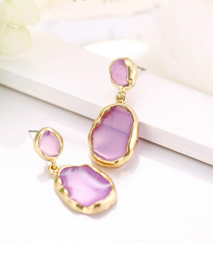 Transparent Glass Stone Drop Earring - Purple 18K Gold Plated Earring in 18K Gold Plated