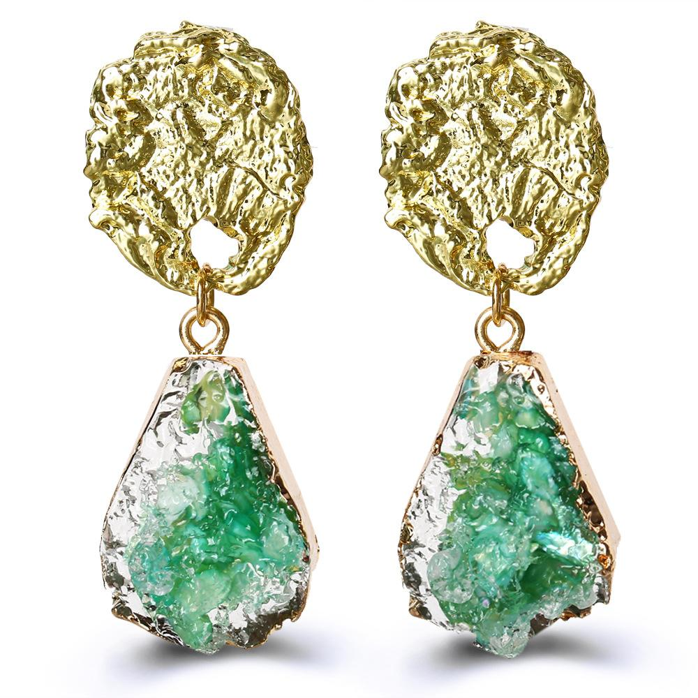 Glass Stone Drop Earring - Green 18K Gold Plated Earring in 18K Gold Plated