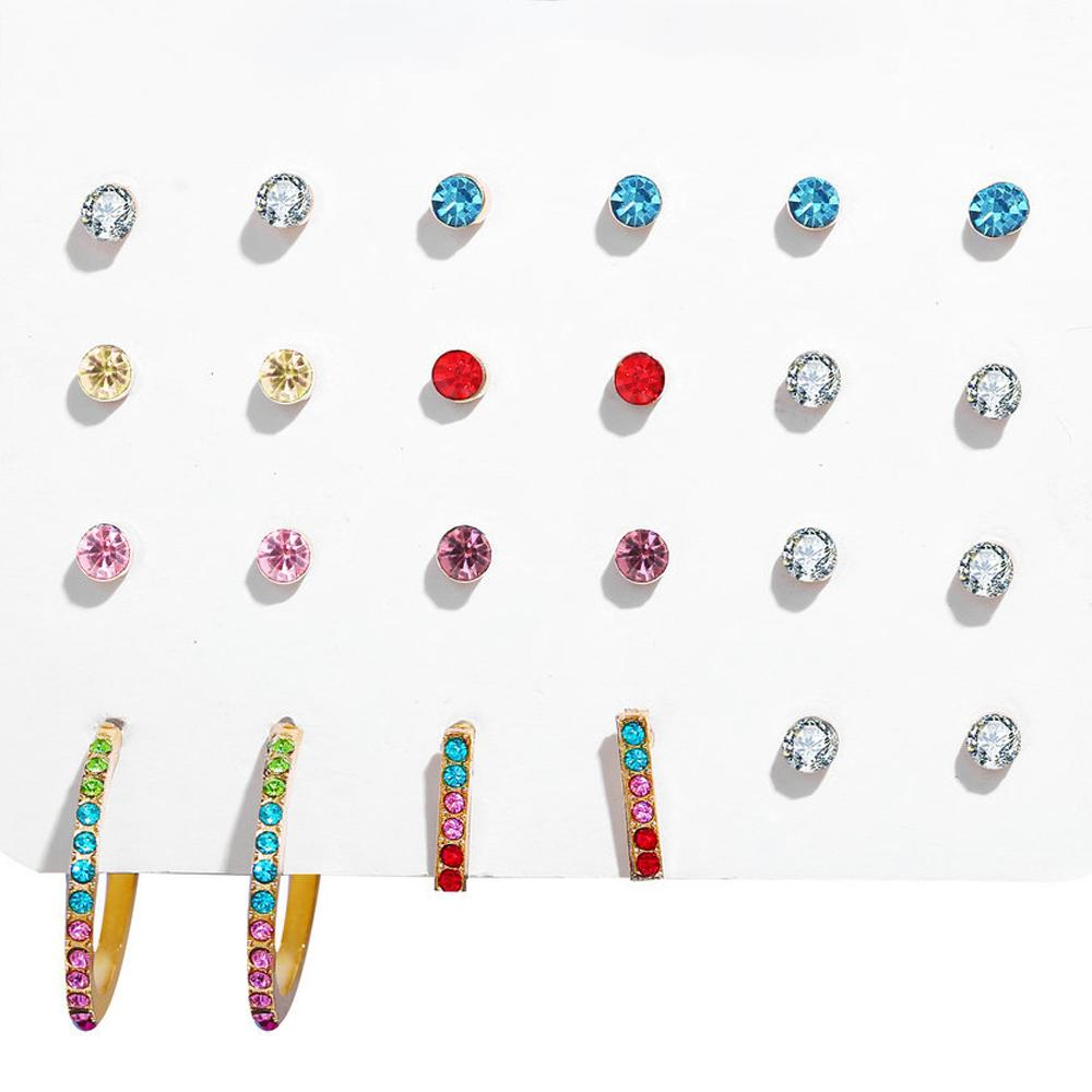 12 Piece Rainbow Set With Crystals 18K White Gold Plated Earring in 18K White Gold Plated