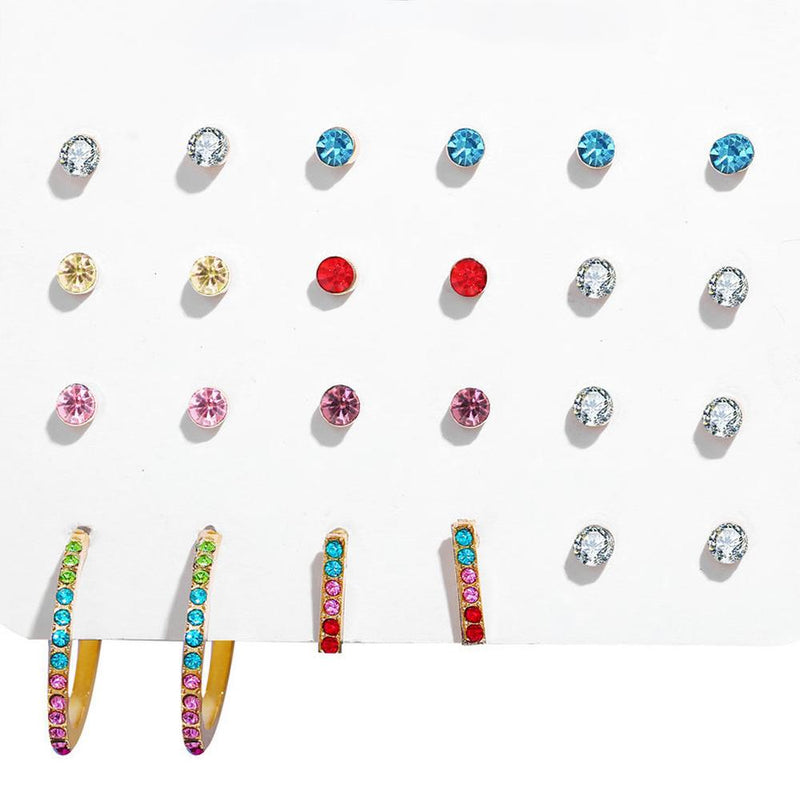 12 Piece Rainbow Set With Swarovski® Crystals 18K White Gold Plated Earring in 18K White Gold Plated