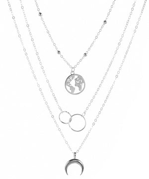 3 Piecce Globe Necklace 18K Gold Plated Necklace in 18K Gold Plated