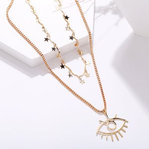 2 Piece Star and Eye Layer Necklace 18K Gold Plated Necklace in 18K Gold Plated