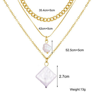 3 Piece Pearl Set 18K Gold Plated Necklace in 18K Gold Plated