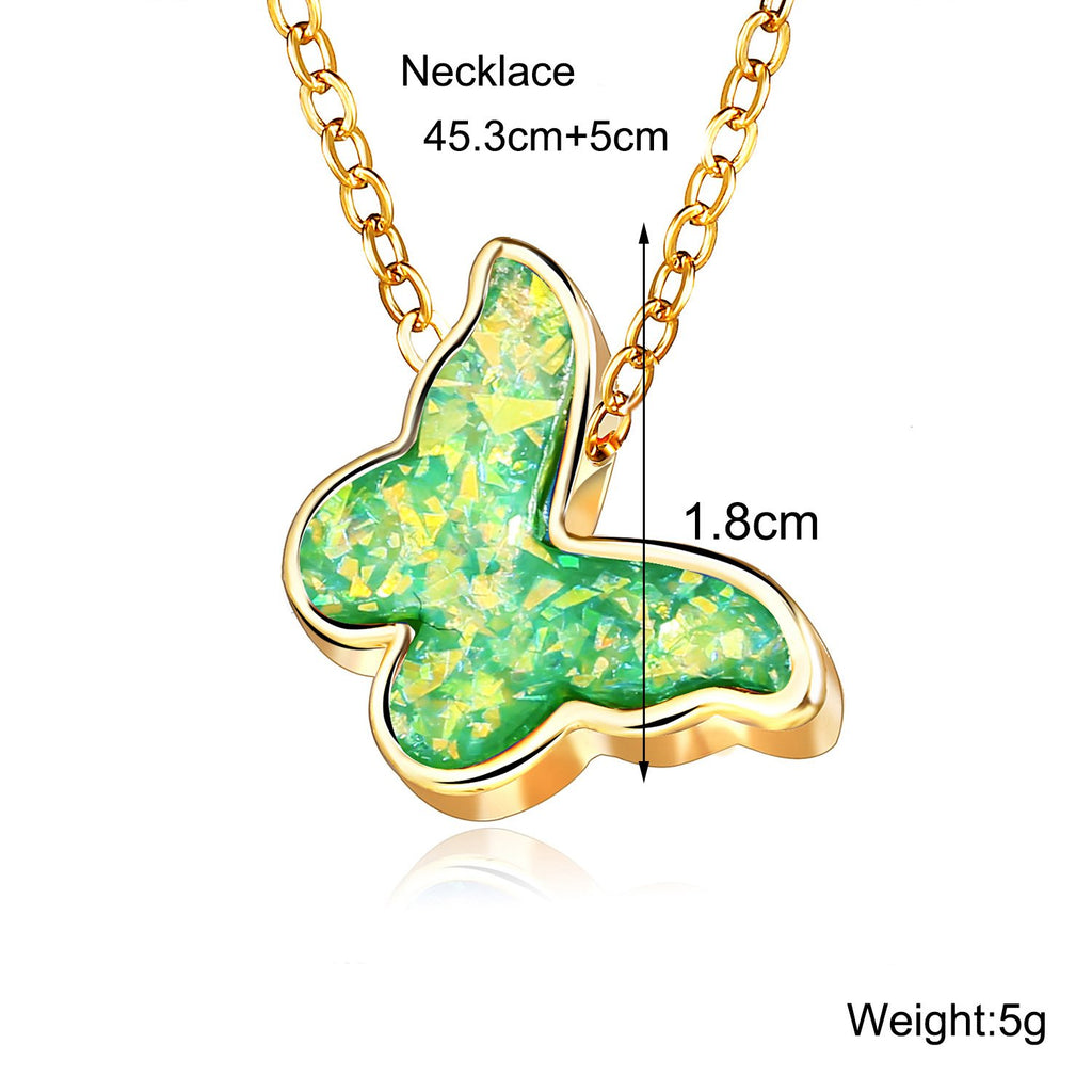 Opal Created Butterfly-Green 18K Gold Plated Necklace in 18K Gold Plated