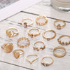 15 Piece Assorted Ring Set With Austrian Crystals 18K Gold Plated Ring in 18K Gold Plated
