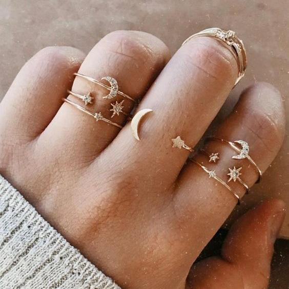 7 Piece Moon & Stars Ring Set With Austrian Crystals 18K Gold Plated Ring in 18K Gold Plated