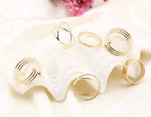 6 Piece Geometric Ring Set 18K Gold Plated Ring in 18K Gold Plated