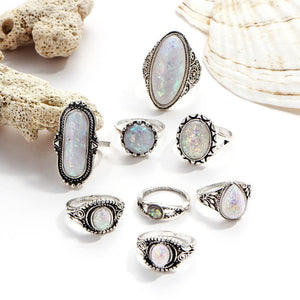 8 Piece Opal Created Oxidized Ring Set With Swarovski® Crystals 18K White Gold Plated Ring in 18K White Gold Plated