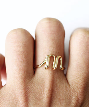 Initial Monogram Ring 18K Gold Plated available A-Z