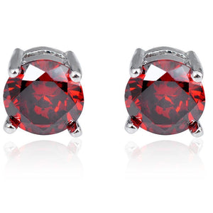 Ruby CreatedAustrian Crystal 6mm Stud Earring 14K White Gold Plated - 1.00 CT