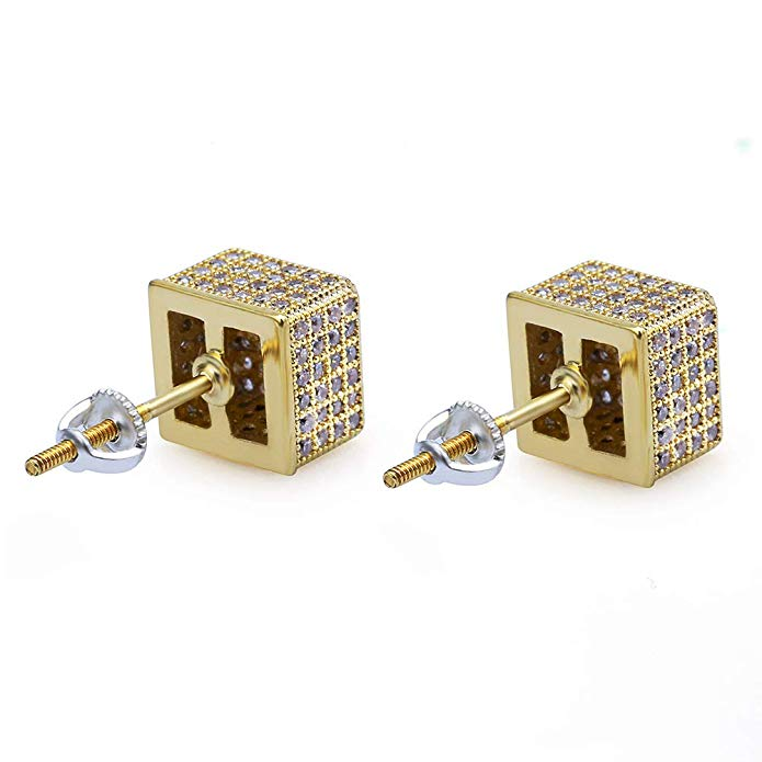 Pave Square Stud Earring Embellished with Swarovski Crystals in 18K Gold Plated