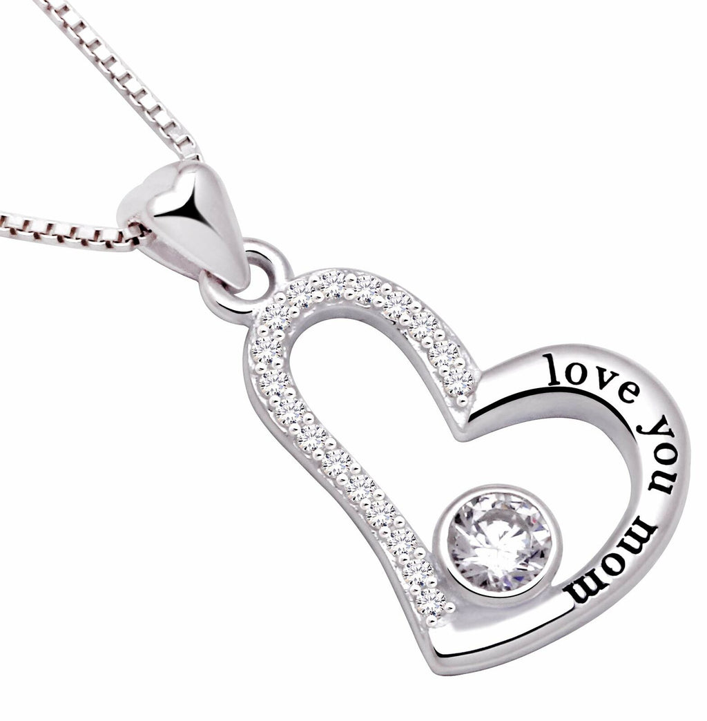 """I Love you MOM"" Heart Necklace Embellished with Swarovski Crystals in 18K White Gold Plated, Necklace, Golden NYC Jewelry, Golden NYC Jewelry  jewelryjewelry deals, swarovski crystal jewelry, groupon jewelry,, jewelry for mom,"