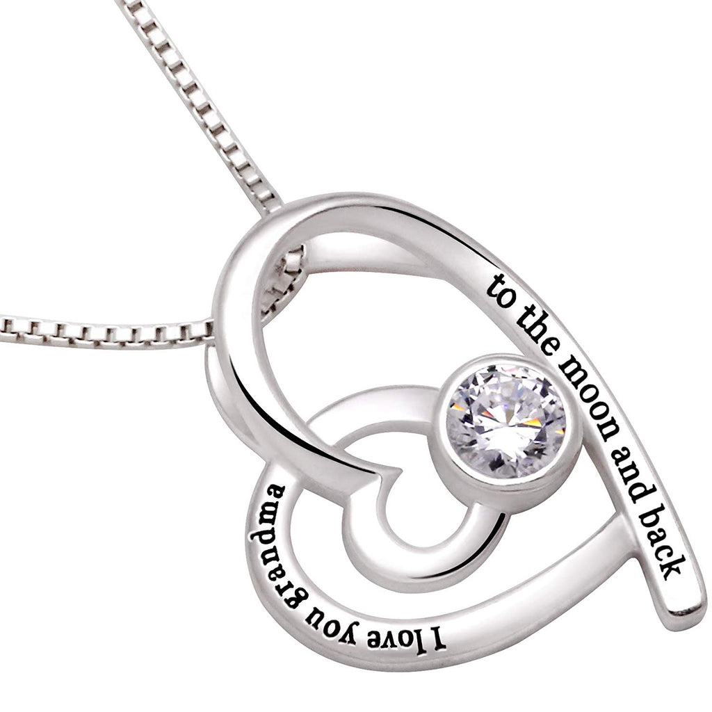 """I Love you Grandma to the moon and back"" Heart Necklace Embellished with Swarovski Crystals in 18K White Gold Plated, Necklace, Golden NYC Jewelry, Golden NYC Jewelry  jewelryjewelry deals, swarovski crystal jewelry, groupon jewelry,, jewelry for mom,"