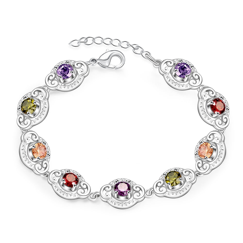 Rainbow Austrian Curved Bracelet in 18K White Gold