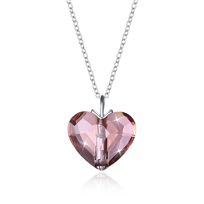 Sterling Silver Pink Beating Heart Swarovski Crystal Necklace