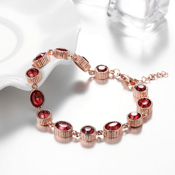 Stimulated Ruby Stones Bracelet in 18K Rose Gold Plated