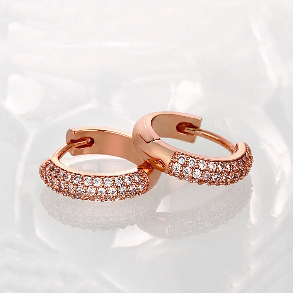 Double Row Huggie Earrings in Rose Gold, Earring, Golden NYC Jewelry, Golden NYC Jewelry  jewelryjewelry deals, swarovski crystal jewelry, groupon jewelry,, jewelry for mom,