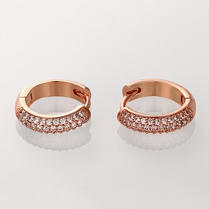 Double Row Huggie Earrings in Rose Gold, Earring, Golden NYC Jewelry, Golden NYC Jewelry fashion jewelry, cheap jewelry, jewelry for mom,