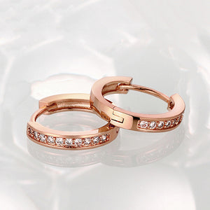 Single Row Huggie Earrings in Rose Gold - Golden NYC Jewelry Pandora Jewelry goldennycjewelry.com wholesale jewelry