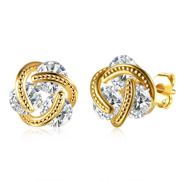 18K Gold Plated Mesh Knot Stud Earrings Made with Swarovski Elements