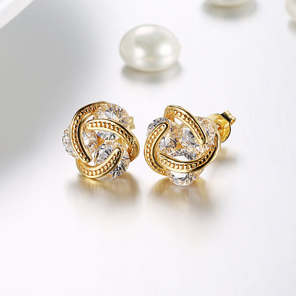 18K Gold Plated Mesh Knot Stud Earrings Made with Swarovski Elements - Golden NYC Jewelry www.goldennycjewelry.com fashion jewelry for women