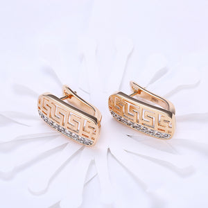 Laser Cut Swarovski Elements Clip On Earrings in 14K Gold