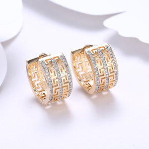 Thick Austrian Crystal Micro-Pav'e Huggie Hoop Earrings Set in 18K Gold - Golden NYC Jewelry