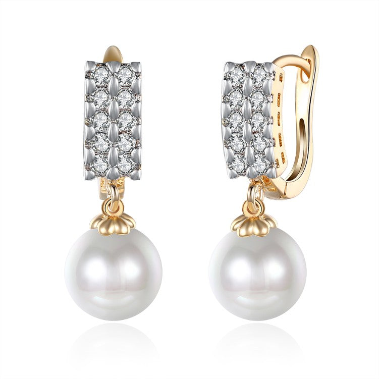 Swarovski Crystal Square Shaped Pearl Leverback Earrings Set in 18K Gold, Earring, Golden NYC Jewelry, Golden NYC Jewelry  jewelryjewelry deals, swarovski crystal jewelry, groupon jewelry,, jewelry for mom,