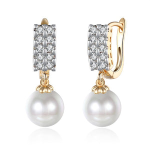 Swarovski Crystal Square Shaped Pearl Leverback Earrings Set in 18K Gold - Golden NYC Jewelry www.goldennycjewelry.com fashion jewelry for women