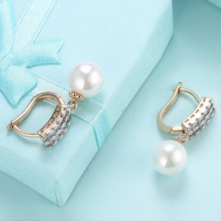 Austrian Crystal Square Shaped Pearl Leverback Earrings Set in 18K Gold - Golden NYC Jewelry