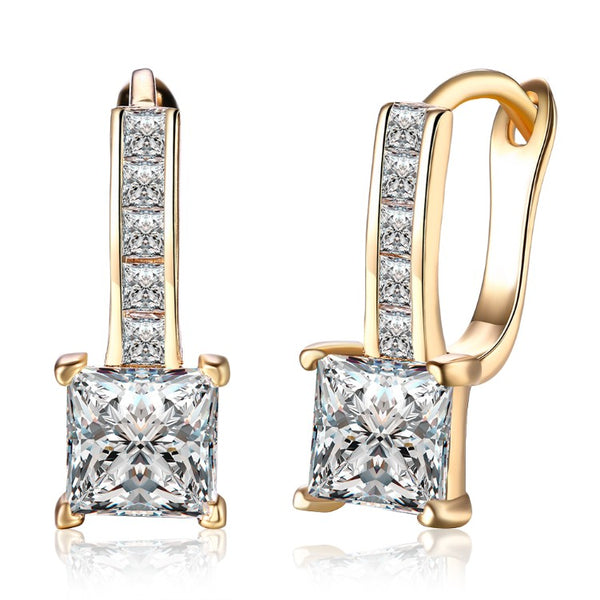 Micro Pav'e Swarovski Crystal Princess Cut Leverback Earrings Set in 18K Gold, Earring, Golden NYC Jewelry, Golden NYC Jewelry fashion jewelry, cheap jewelry, jewelry for mom,