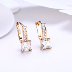 Princess Cut Pav'e Swarovski Elements in 14K Gold