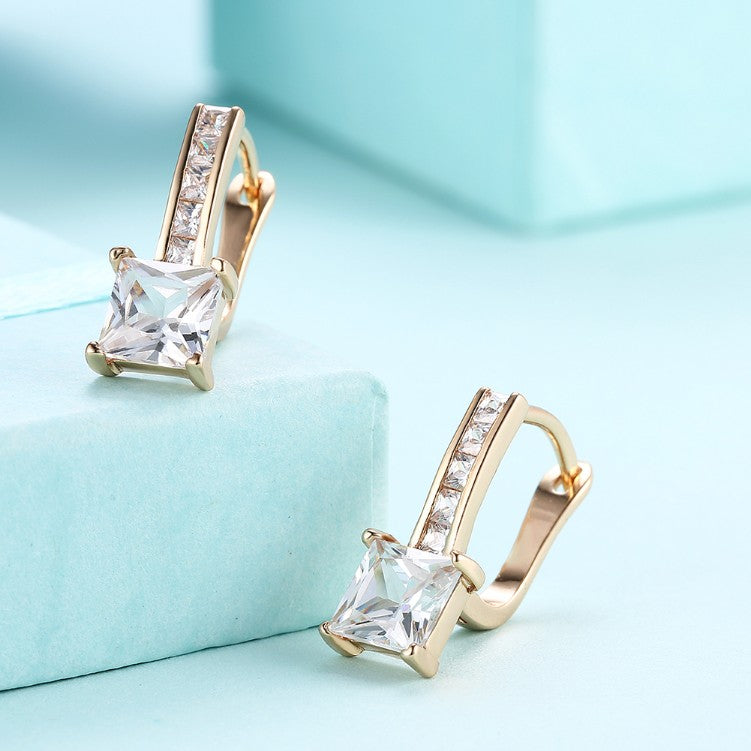 Micro Pav'e Austrian Crystal Princess Cut Leverback Earrings Set in 18K Gold, Earring, Golden NYC Jewelry, Golden NYC Jewelry  jewelryjewelry deals, swarovski crystal jewelry, groupon jewelry,, jewelry for mom,