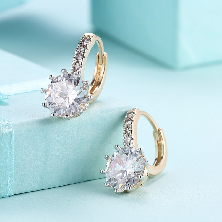 Simulated Diamond Star Shaped Princess Cut Leverback Earrings Set in 18K Gold - Golden NYC Jewelry